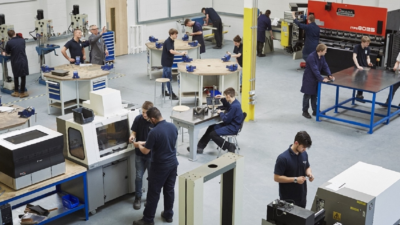 Students in an engineering workshop
