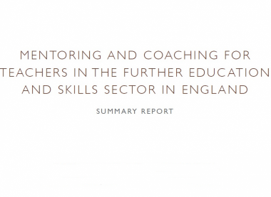 Mentoring and coaching for teachers in FE – our latest research